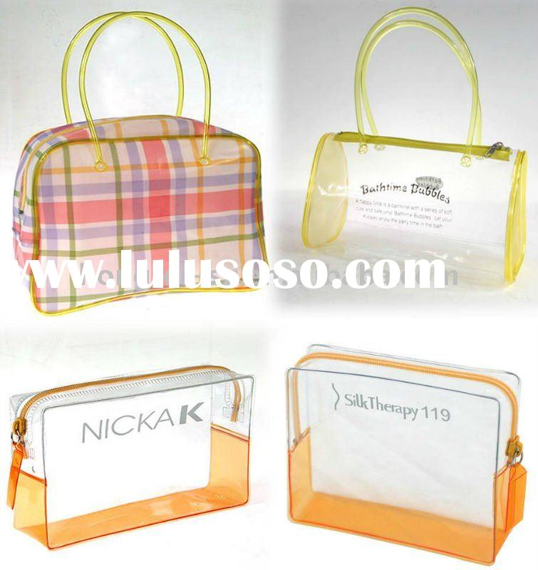 clear vinyl pvc zipper bags with handles
