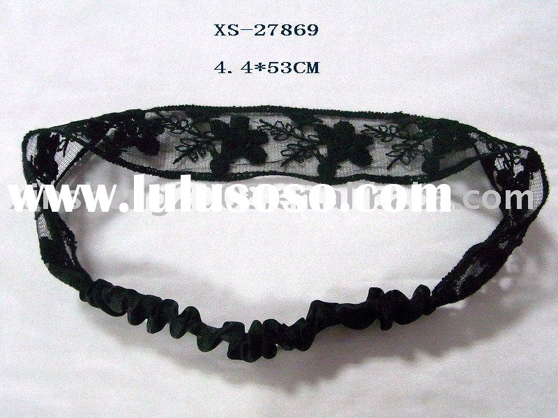 fashion elastic black lace headband