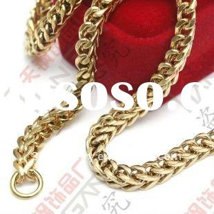 new hot sale 100% man&woman stainless steel chains with gold plated