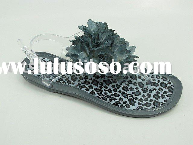 pvc crystals sandals/Women jelly flat sandals/lady crystal flower shoes