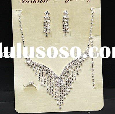 wholesale fashion crystal imitation wedding jewelry sets