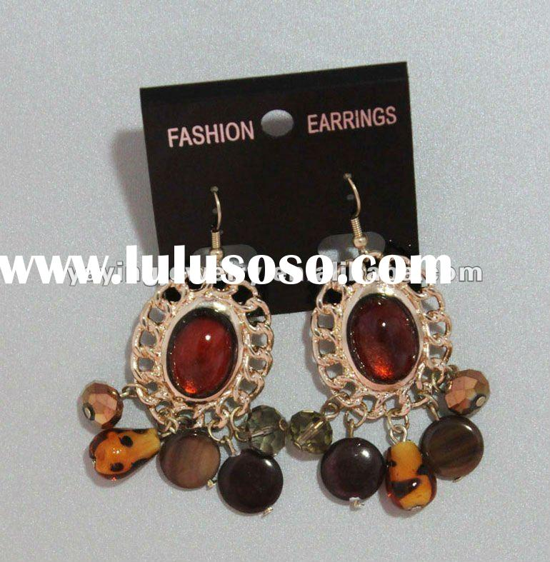 wholesale fashion gold earrings 2012 new design with murano glass beads