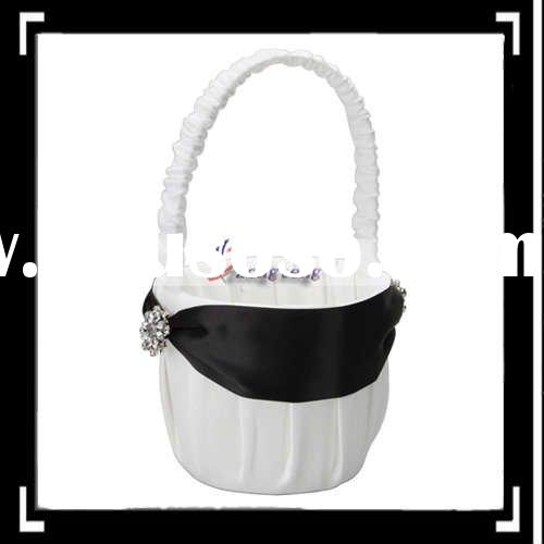 Black, White Elegant Girl Wedding Flower Basket