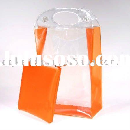 CLEAR PVC IC COSMETIC BAG WITH HANDLE FOR SHOPPING
