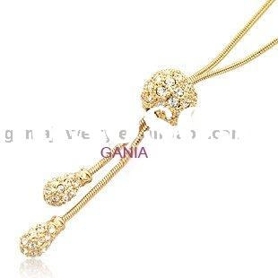 Costume Jewelry Gold Plated Ball Necklace With Snake Chain