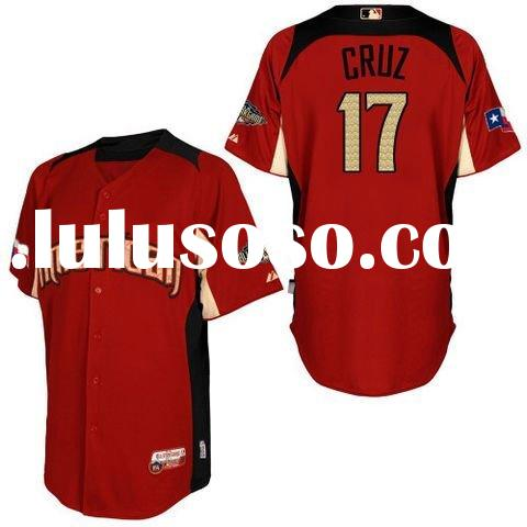 Kids 2011 All star Texas Rangers Jerseys #17 Nelson Cruz red Authentic Jersey M L XLDrop Shipping Pa