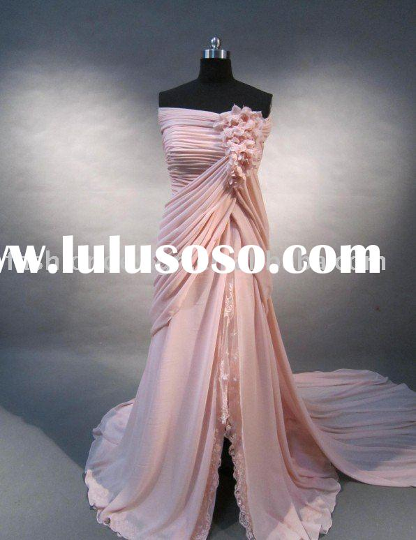 Stock024 2012 Fashion pink chiffon off shoulder red carpet prom dress high slit evening dress