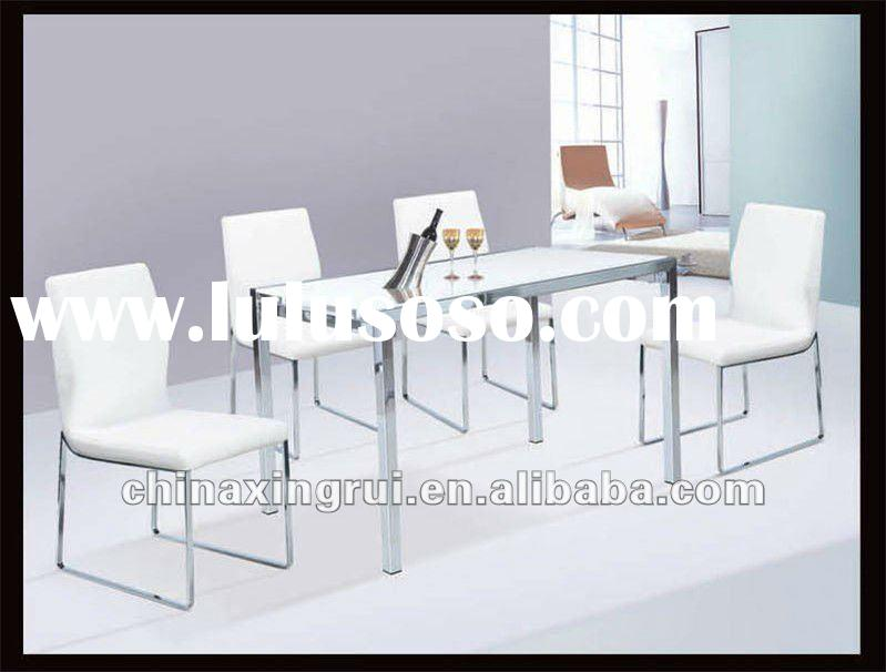 modern cheap rectangle glass top and metal legs dining table sets