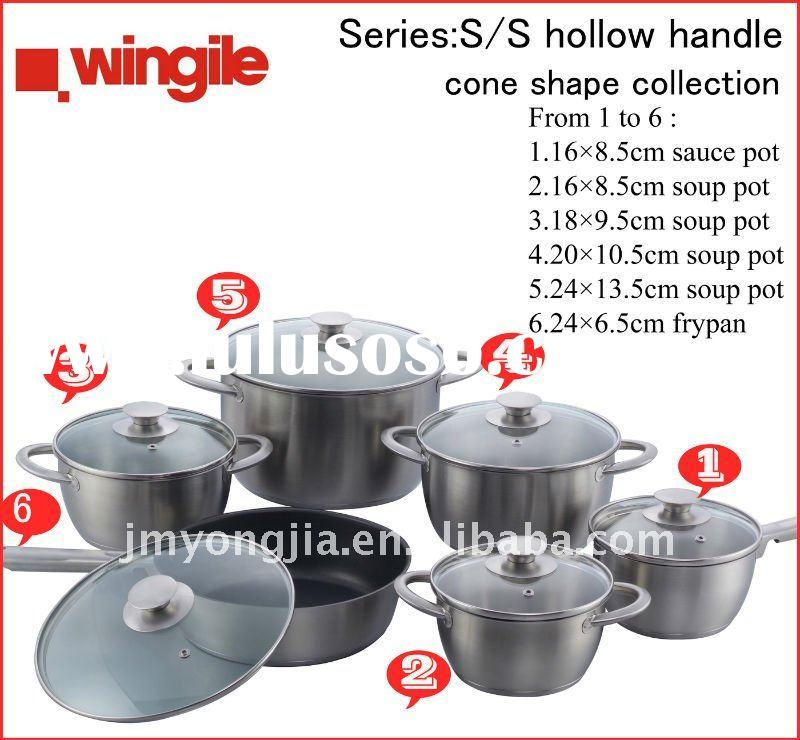 12 pcs stainless steel cone shape cooking pot WGCW-C03