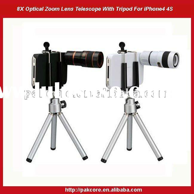 8X Optical Zoom Lens Telescope With Tripod For iPhone 4