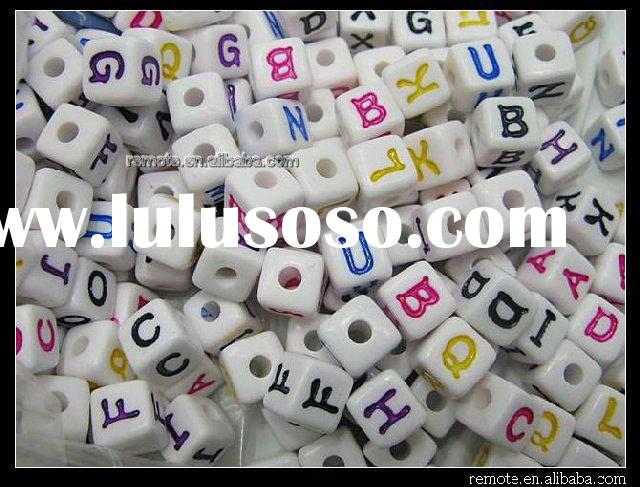 Acrylic Bead Plastic Letter Alphabet Coin Shaed Finding Accessory 10mm PL030