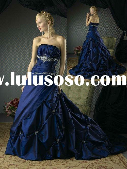 Attractive strapless beaded applique royal blue wedding dress