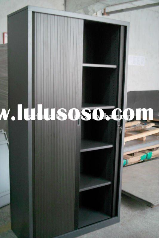 Black color steel tambour door cabinet 4 shelves steel cupboard+ knock down design