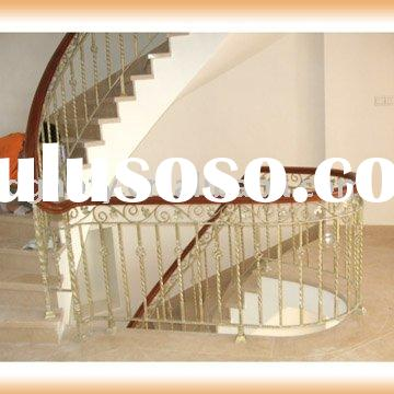 Curved Stair Balustrade Handrail Wood Iron{HB-T009}