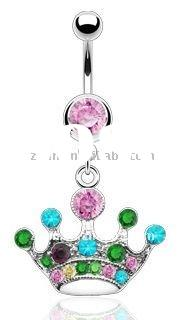 Dangling Crown Adorned with Multi Coloured Cubic Zirconias - Dangling Belly Bar,belly button ring,na