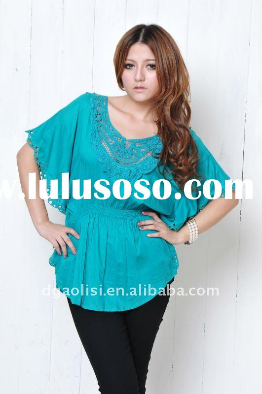 Fashion Lace Embroidered Cotton Casual Lady Blouse