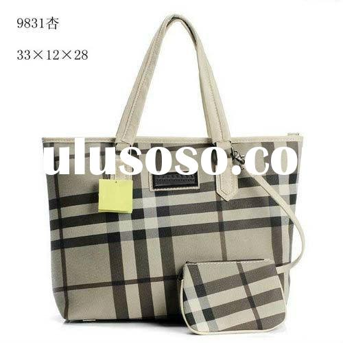Fashion Leather Smoked Check Tote Bags Women Designer Handbags With Interior Detachable Pouch