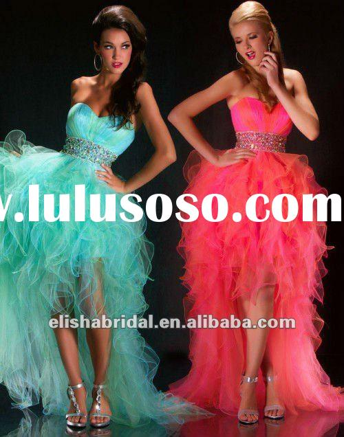 Hot Pink Sweetheart Crystal Beaded Belt Tulle And Feather Prom dresses Short Front Long Back 2012