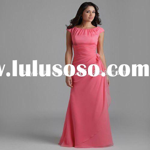 Innovative Design Scoop Neckline Peach Chiffon Evening Dresses Cap Sleeves