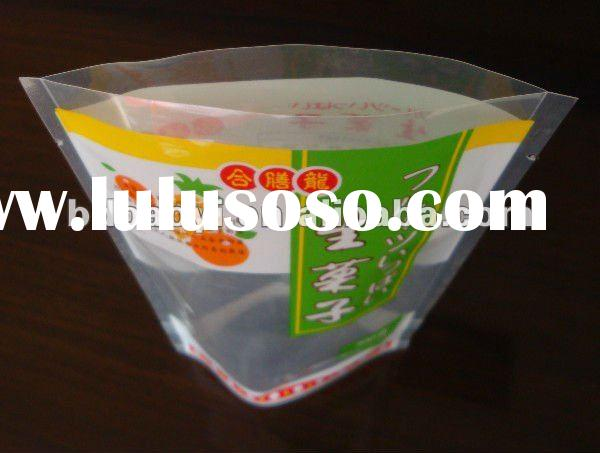 LDPE/CPP laminated clear plastic bags with bottom gusset for snack 300g