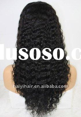 Long small curl jet black women indian remy full lace wigs