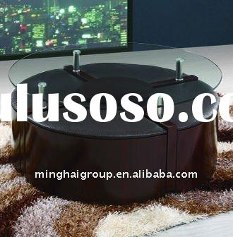 Modern Round Glass Coffee Table With 4 Stools MCT-2275