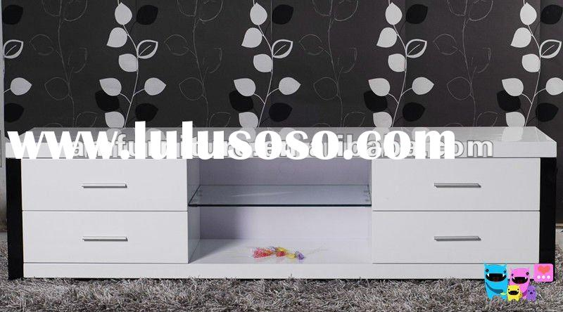 Modern TV stand made of MDF in high gloss white