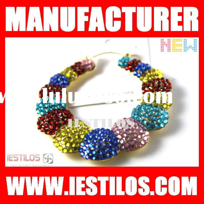 Multi color rhinestone basketball wives bamboo hoop earring wholesale