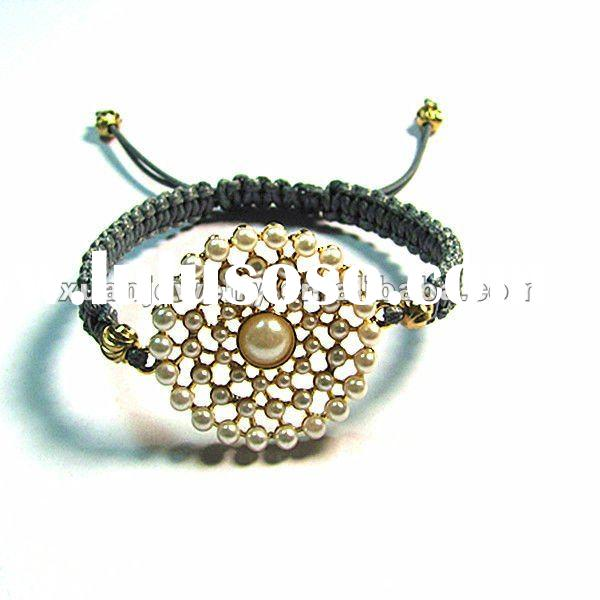 NEW!!! fashion custom design jewelry, hand made woven bracelet, cord braided gold plating disc with