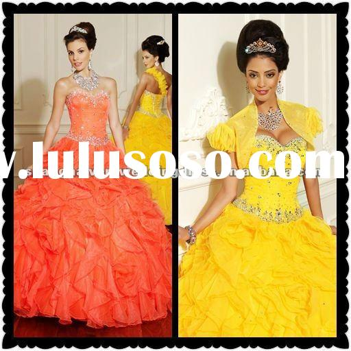 New Arrival High Quality Orange Organza Ball Gown 2012 Quinceanera Dresses MLQ-001