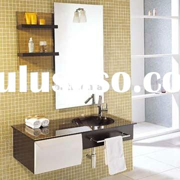 Newest design one drawer hanging makeup bathroom vanity cabinet with glass countertop basin and wood