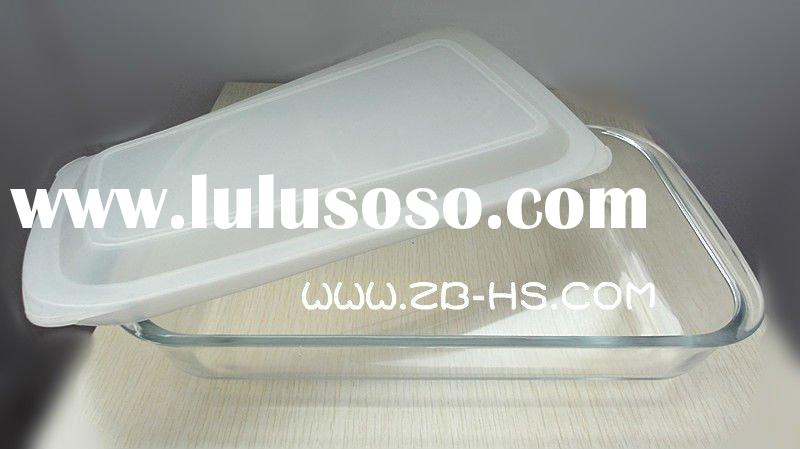 Rectangular high borosilicate/pyrex glass toaster oven baking tray with colored PP lid/microwave bak