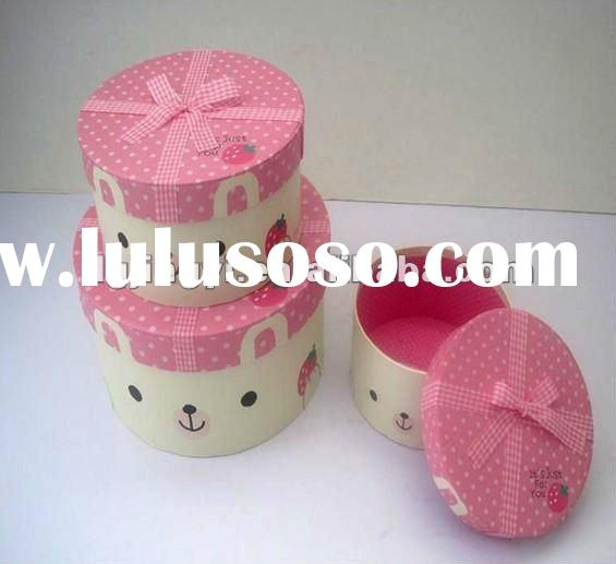 Round shape paper candy packing box with bowknot