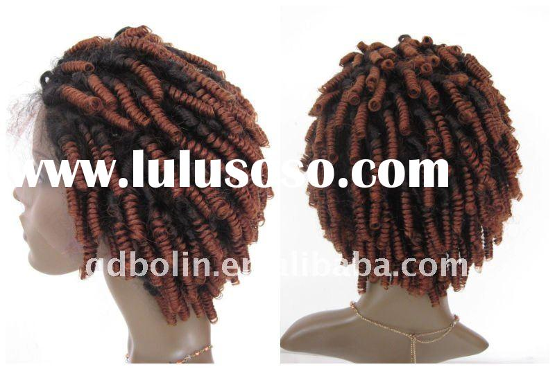 SHORT 8INCH AFRO CURL BLACK/RED T-TONE WIGS