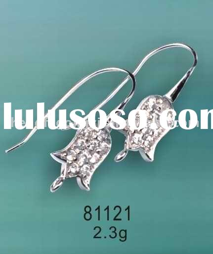 Silver Jewelry/925 Silver Fancy Earring Hook with CZ