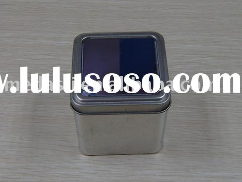 Small square window tea/candy/chocolate/ watch case/jewelery /gift tin can with flatten lid (#KK2014