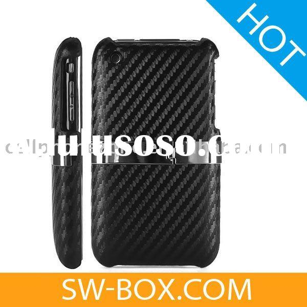 Stand Carbon Fiber Leather Hard Case Cover for Apple iPhone 3GS iPhone 3G (Black)