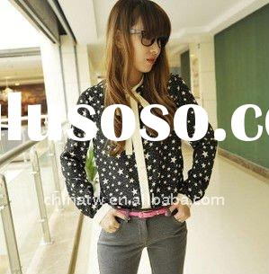 Stylish Bowknot Polka Dot Lady Shirt Fashion Women Blouse Wear zb10059