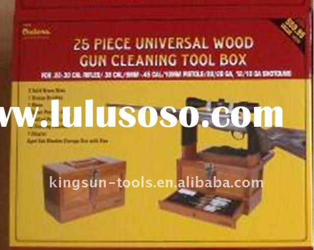 Wooden Tool Box With Gun Cleaning Kit And Gun Rack Holder