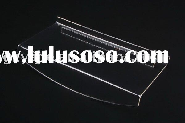 (B-3001)Deluxe Clear Slatwall Acrylic Shoes Rack With Large Front Lip For Logo Imprint