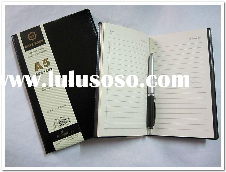 black leather note book / customized A5 office diary