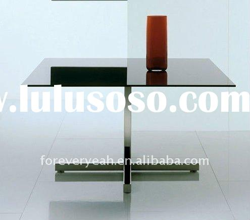 chrome bases black tempered glass square dining table