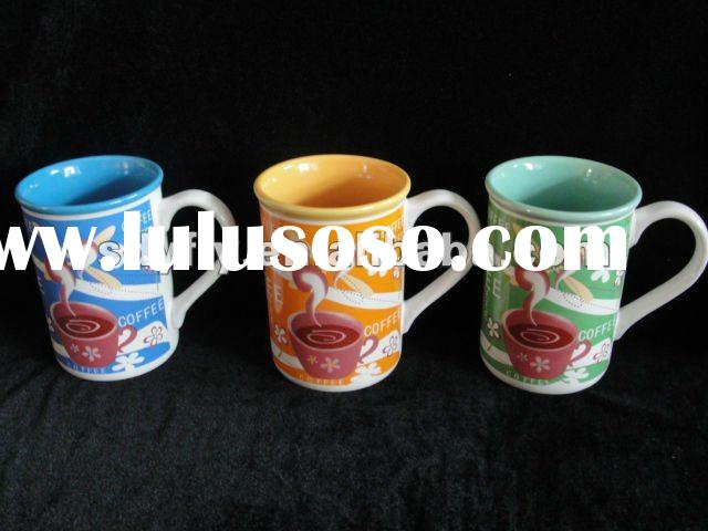 color glazed ceramic coffee mug with pattern