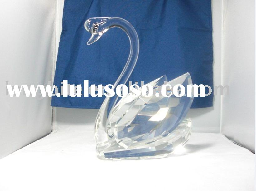 crystal swan,crystal glass animals model,crystal glass promotional gift