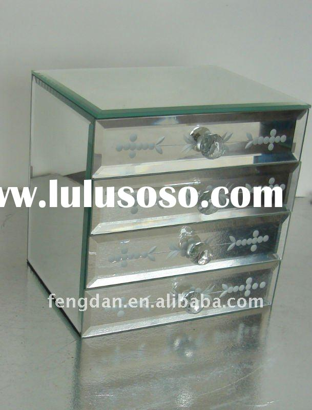 fashion etched flower glass jewelry box velvet inserts with many drawers