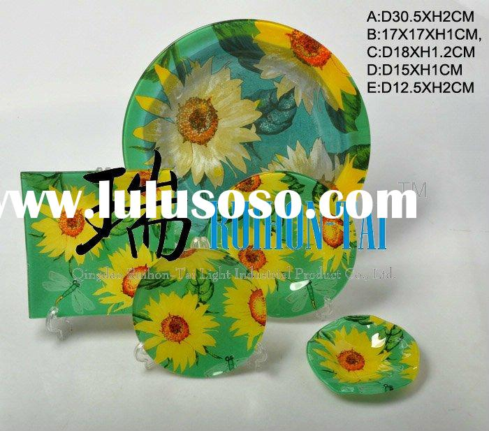 hot selling colored glass dinnerware sets
