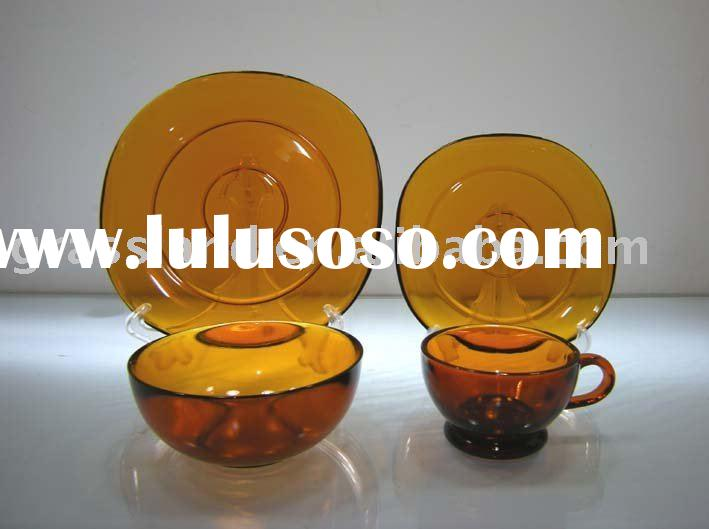 set of glass plate & bowl