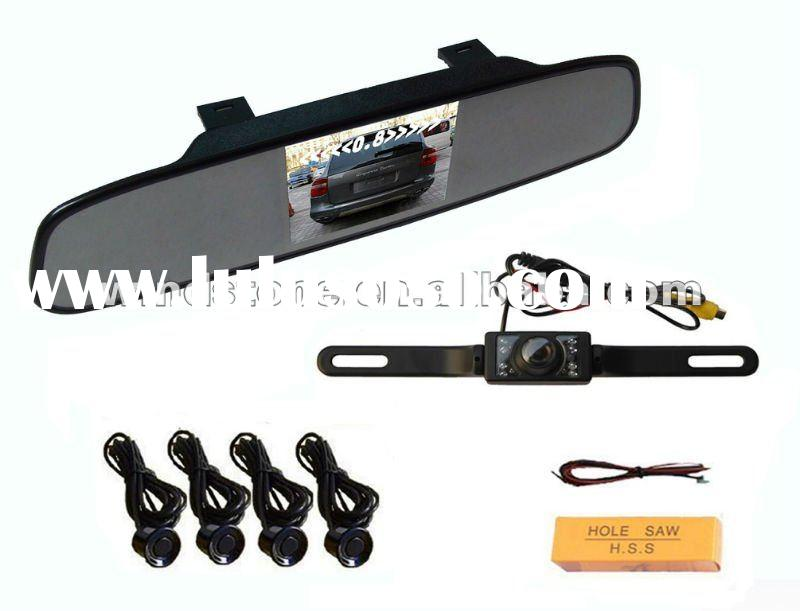 wireless car rearview camera video parking sensor with built-in 3.5inch TFT moniter