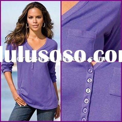 Plus Size Clothing/ Fashion Button Front Design Long Sleeve T Shirt