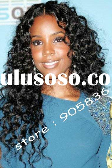 celebrity black curly indian remy human hair lace front wig
